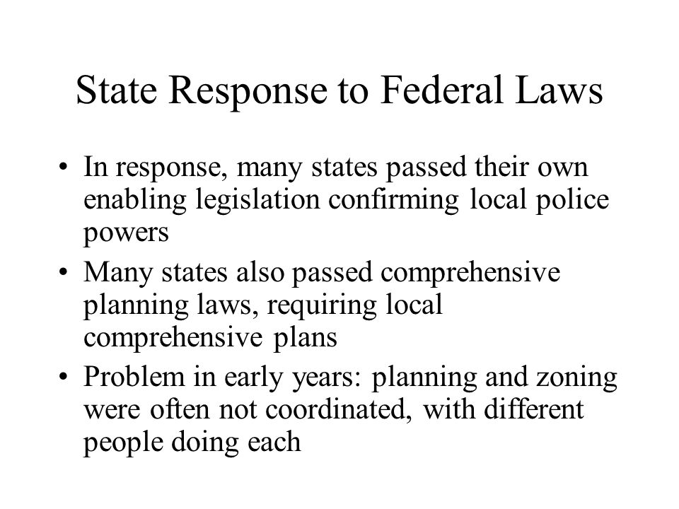 State Response to Federal Laws