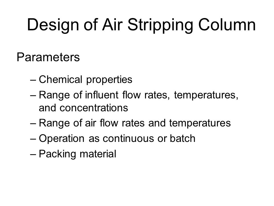 Design of Air Stripping Column