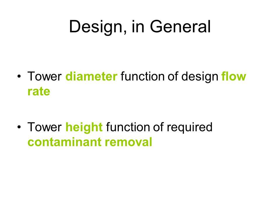Design, in General Tower diameter function of design flow rate