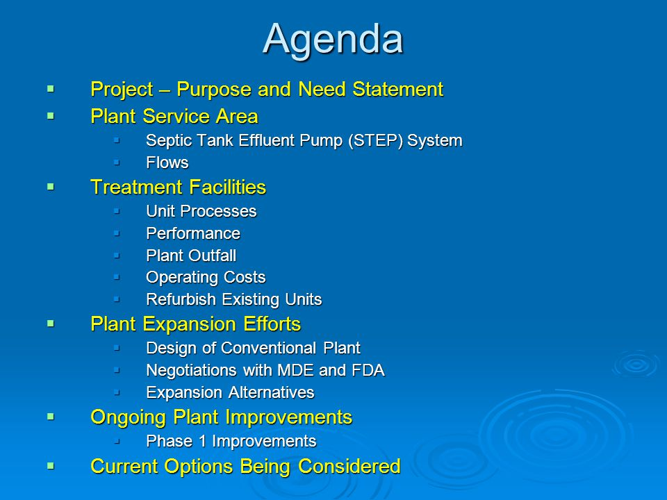 Agenda Project – Purpose and Need Statement Plant Service Area