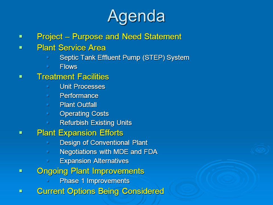 Agenda Project – Purpose and Need Statement Plant Service Area
