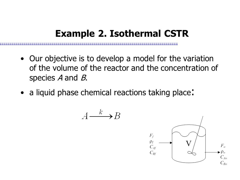 Example 2. Isothermal CSTR