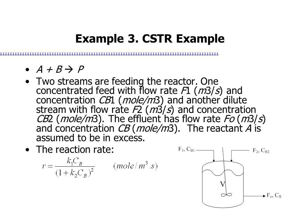 Example 3. CSTR Example A + B  P