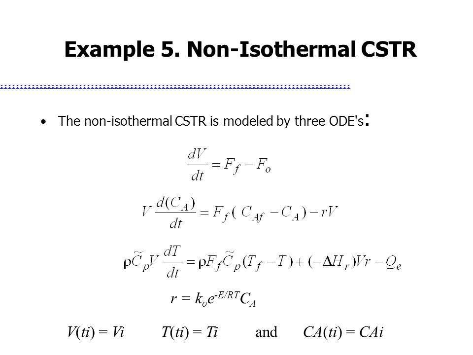 Example 5. Non-Isothermal CSTR