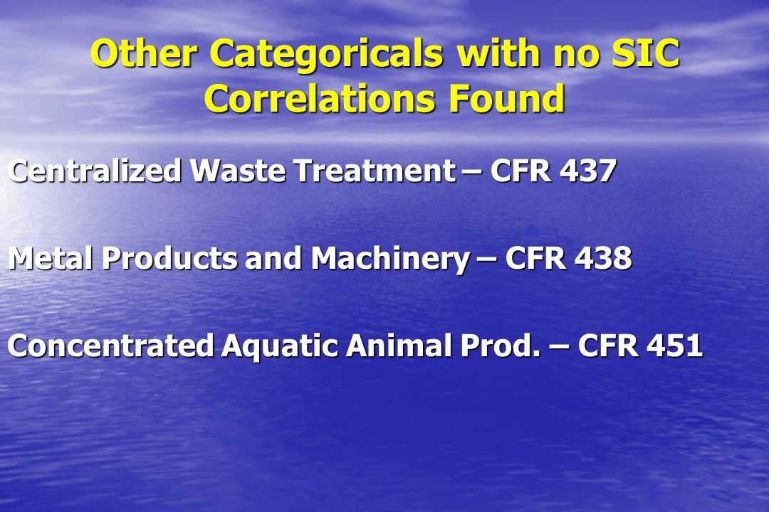 Other Categoricals with no SIC Correlations Found