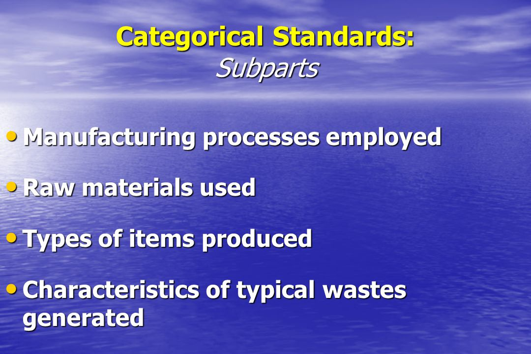 Categorical Standards: Subparts