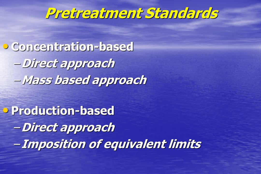 Pretreatment Standards