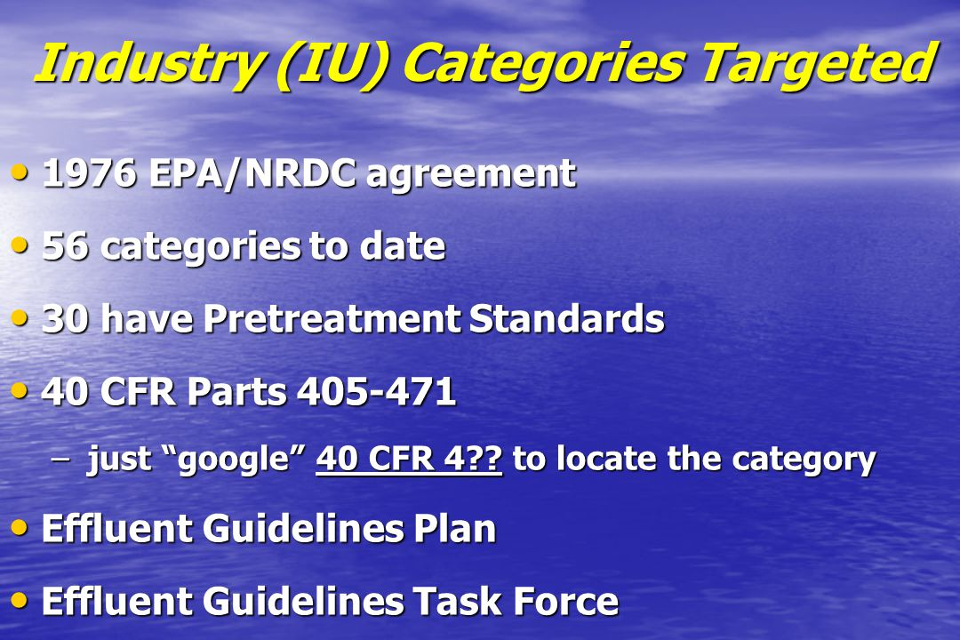 Industry (IU) Categories Targeted