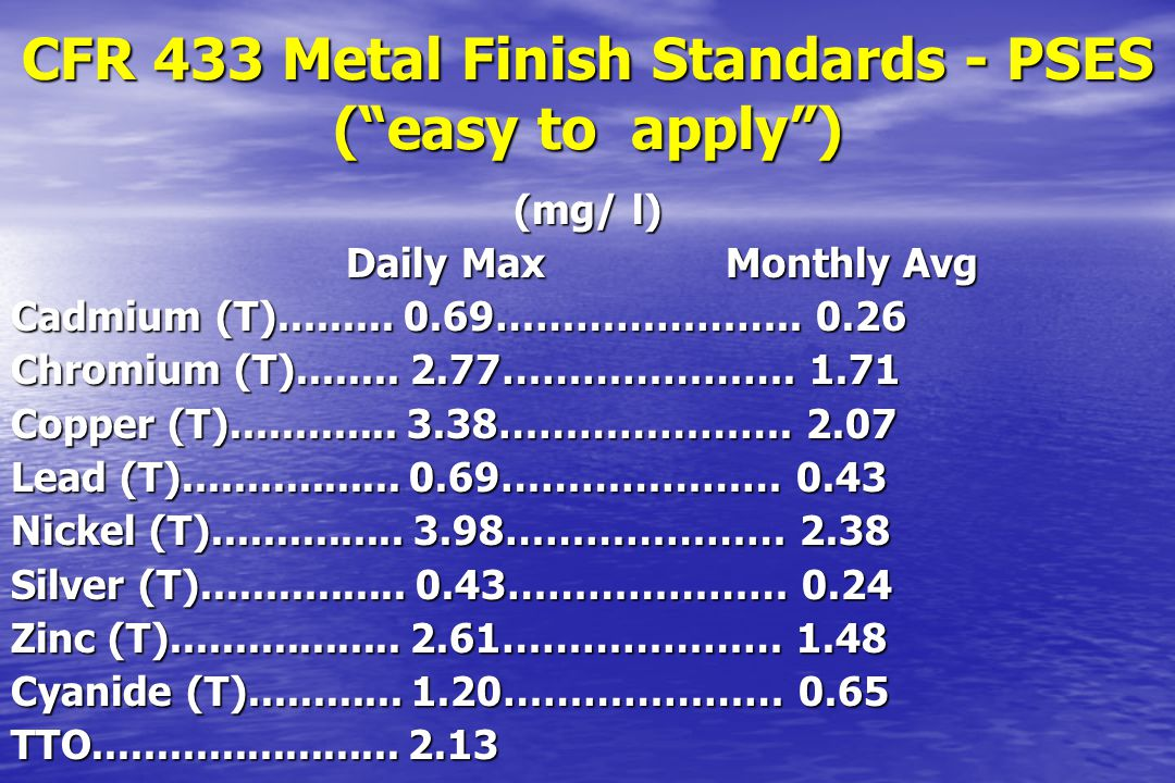 CFR 433 Metal Finish Standards - PSES ( easy to apply )