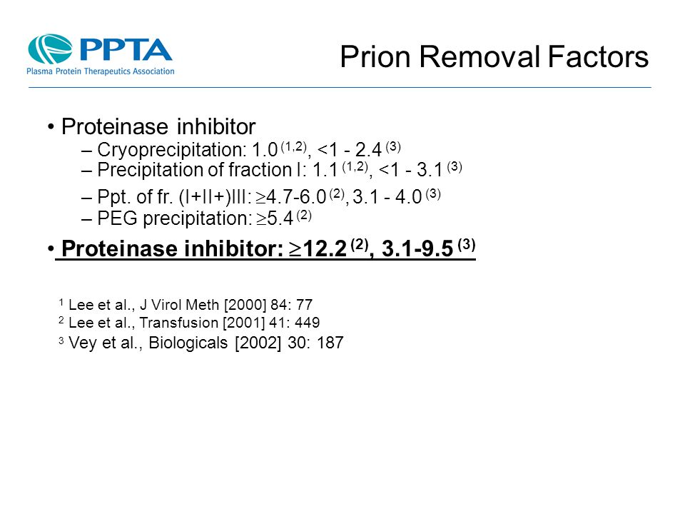 Prion Removal Factors Proteinase inhibitor