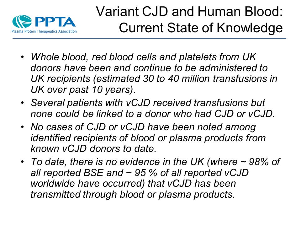 Variant CJD and Human Blood: Current State of Knowledge