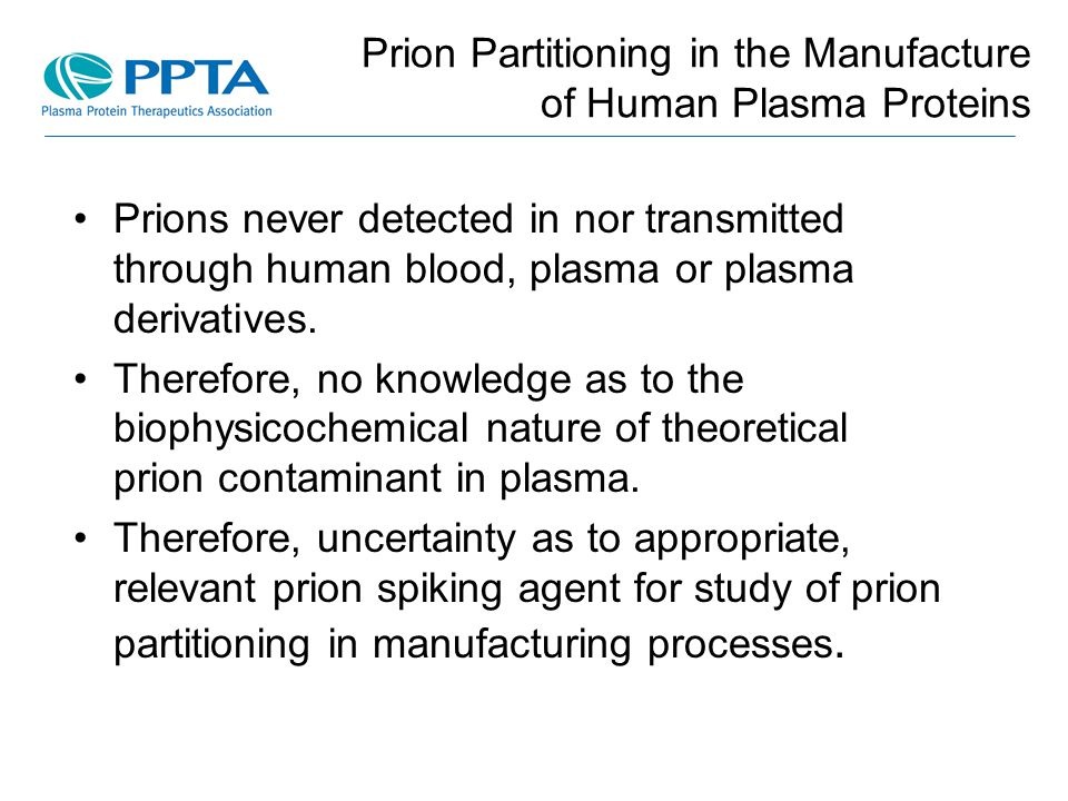 Prion Partitioning in the Manufacture of Human Plasma Proteins
