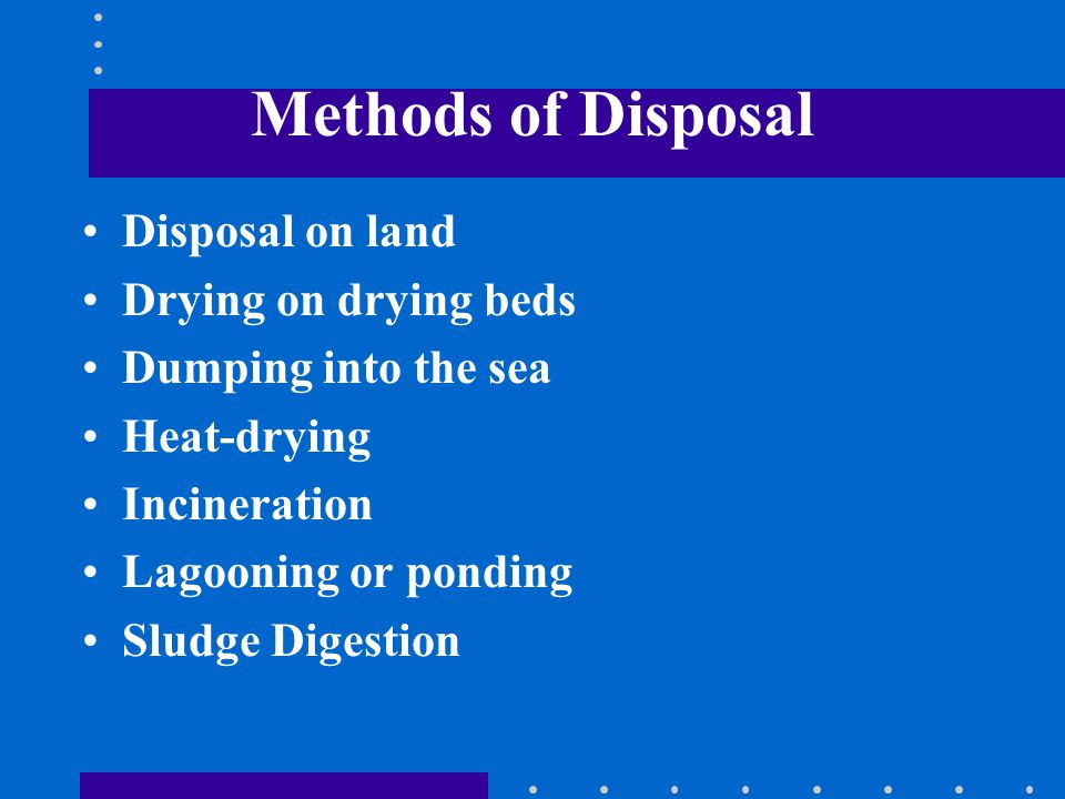 Methods of Disposal Disposal on land Drying on drying beds