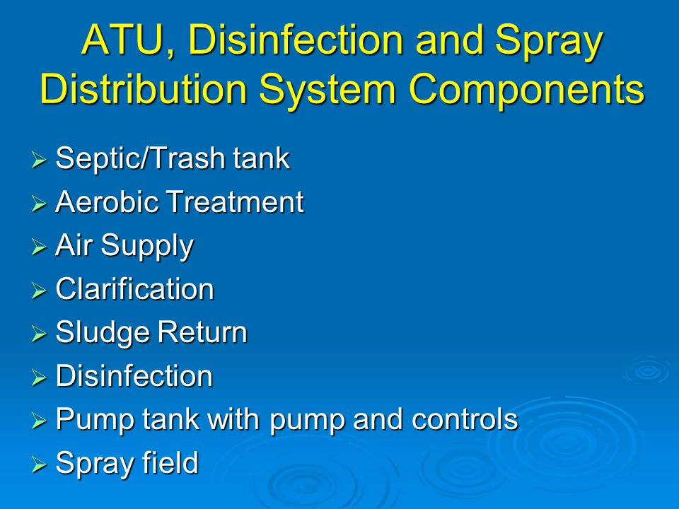 ATU, Disinfection and Spray Distribution System Components