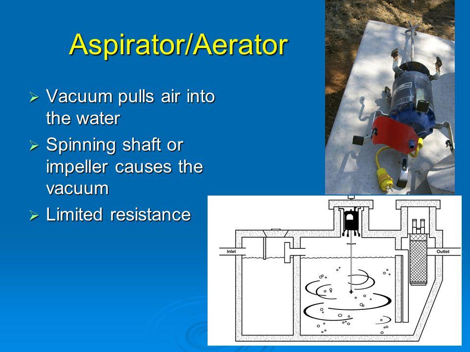 Aspirator/Aerator Vacuum pulls air into the water