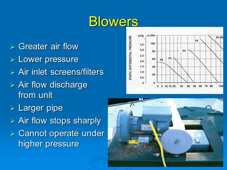Blowers Greater air flow Lower pressure Air inlet screens/filters