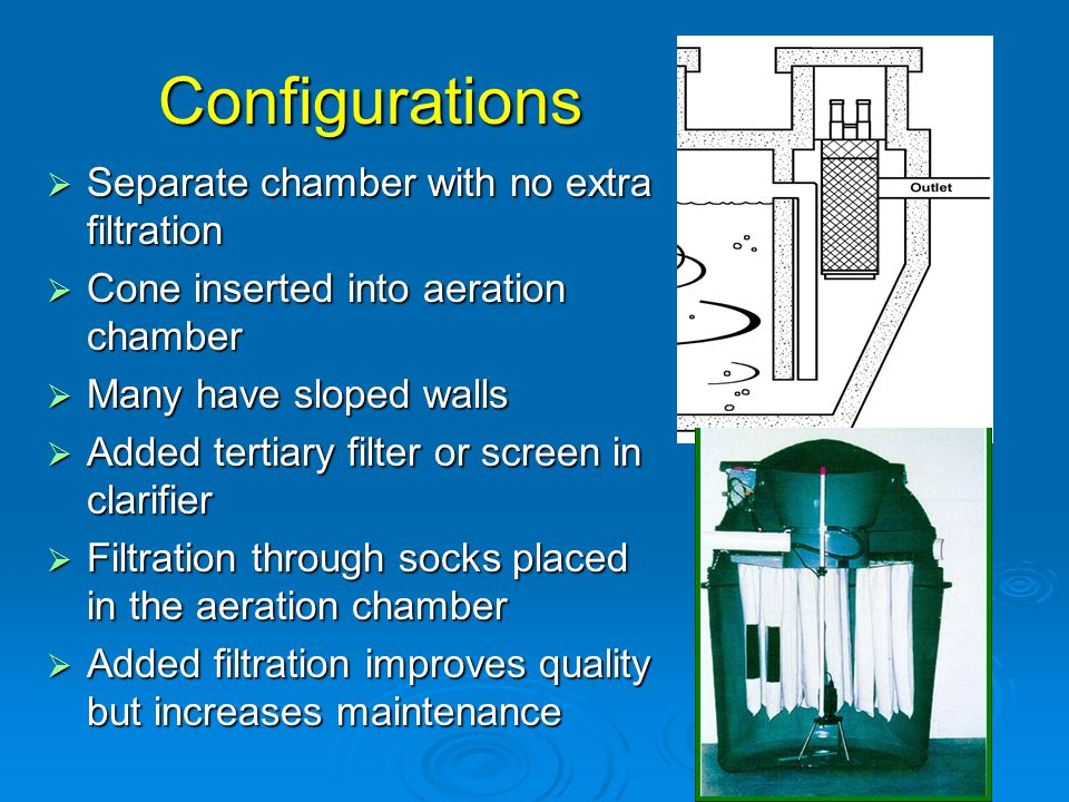 Configurations Separate chamber with no extra filtration