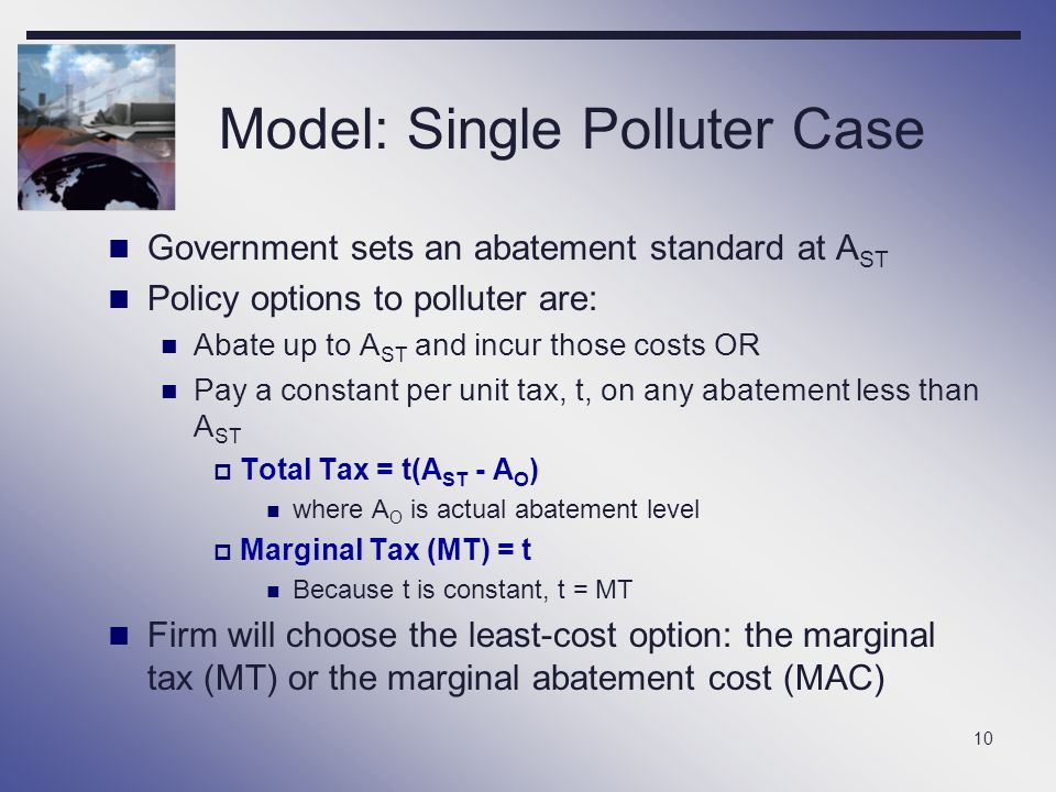 Model: Single Polluter Case