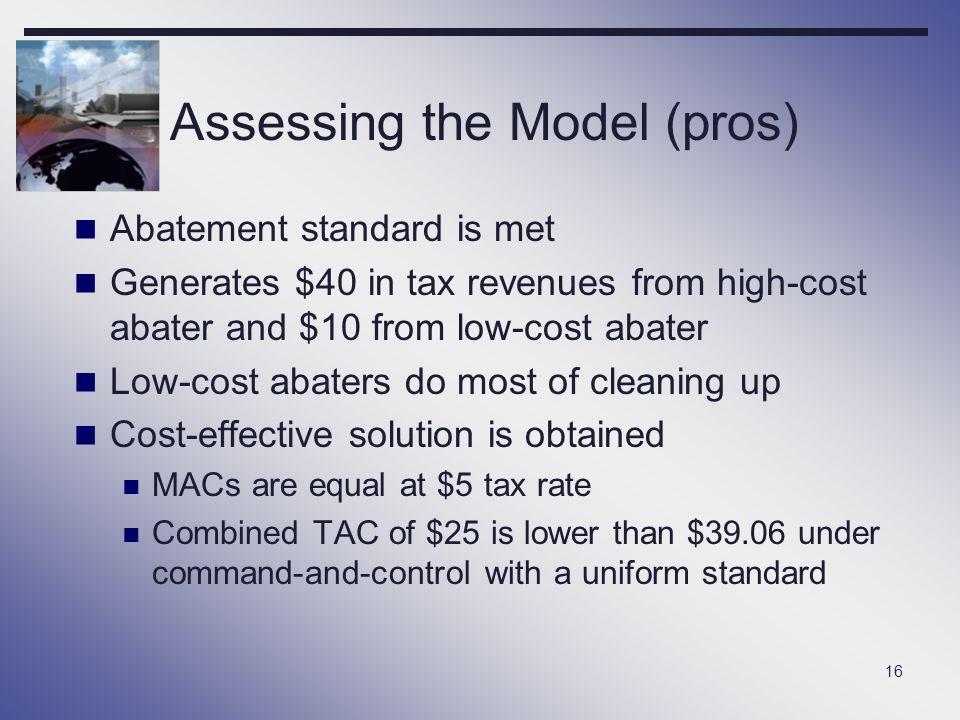 Assessing the Model (pros)