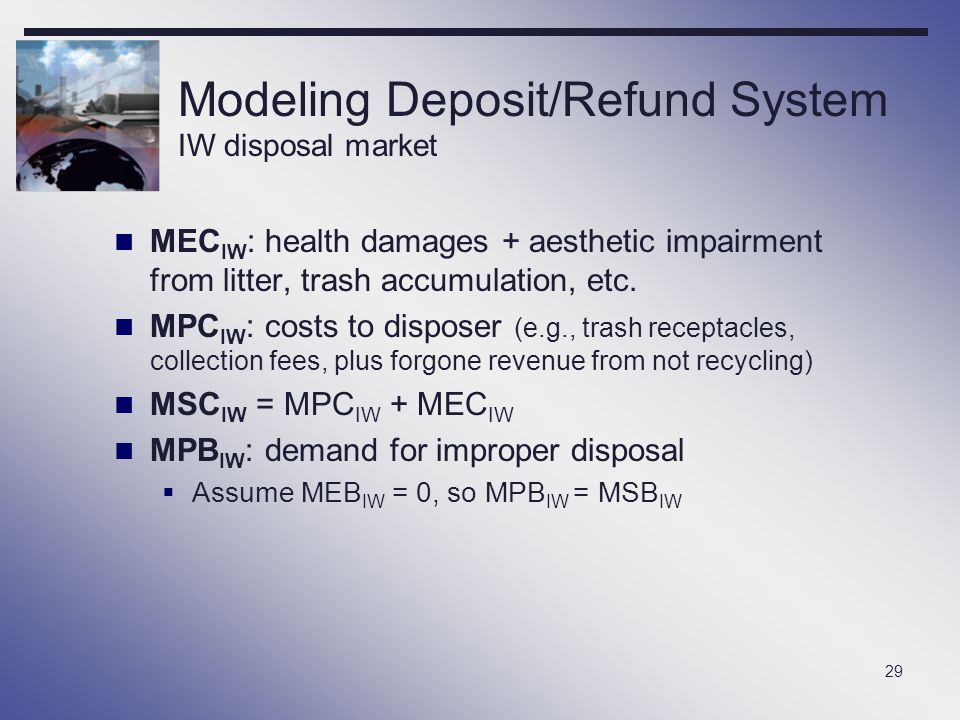 Modeling Deposit/Refund System IW disposal market