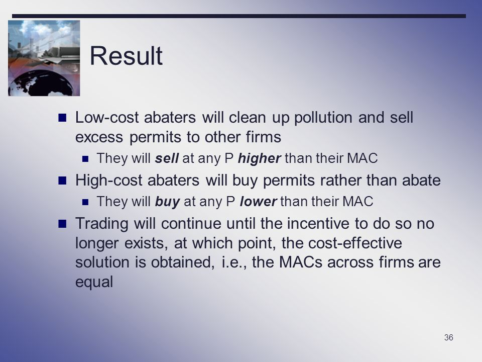 Result Low-cost abaters will clean up pollution and sell excess permits to other firms. They will sell at any P higher than their MAC.