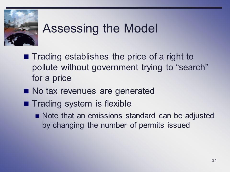 Assessing the Model Trading establishes the price of a right to pollute without government trying to search for a price.