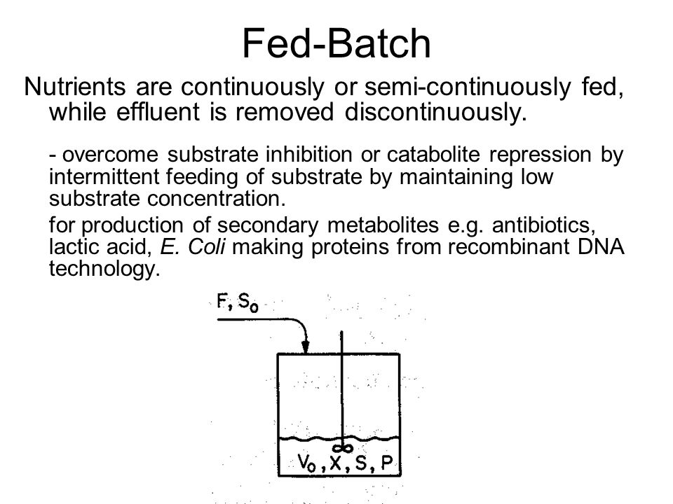 Fed-Batch Nutrients are continuously or semi-continuously fed, while effluent is removed discontinuously.