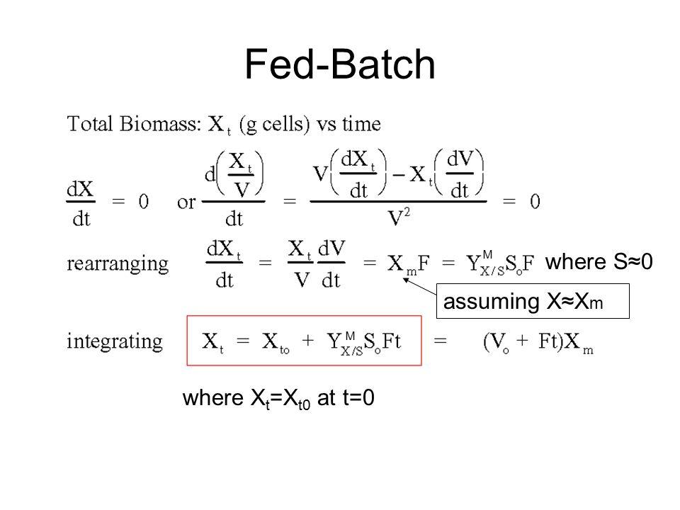 Fed-Batch M where S≈0 assuming X≈Xm M where Xt=Xt0 at t=0