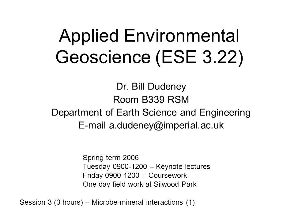 Applied Environmental Geoscience (ESE 3.22)