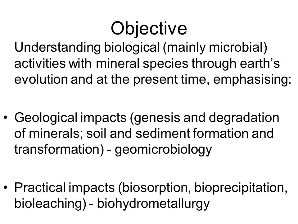Objective Understanding biological (mainly microbial) activities with mineral species through earth's evolution and at the present time, emphasising:
