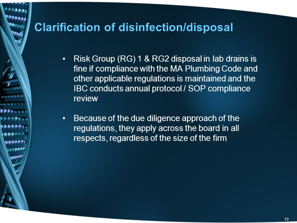Clarification of disinfection/disposal