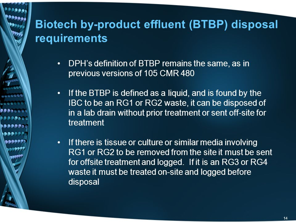 Biotech by-product effluent (BTBP) disposal requirements