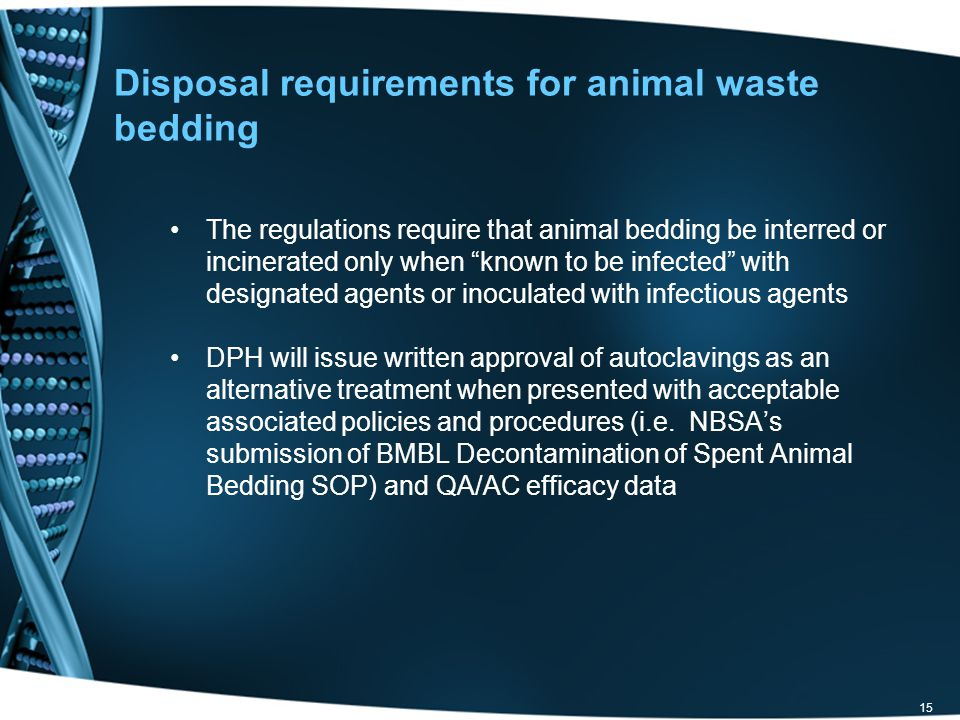 Disposal requirements for animal waste bedding