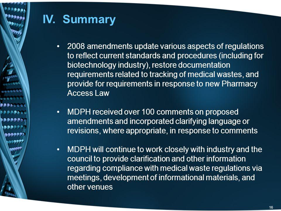 IV. Summary