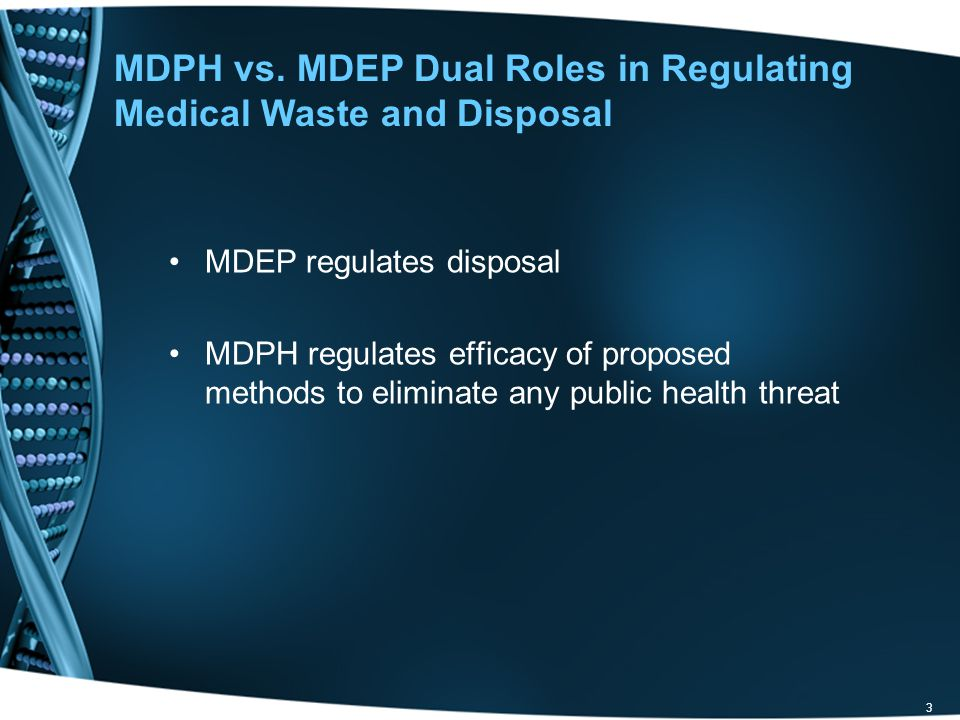 MDPH vs. MDEP Dual Roles in Regulating Medical Waste and Disposal