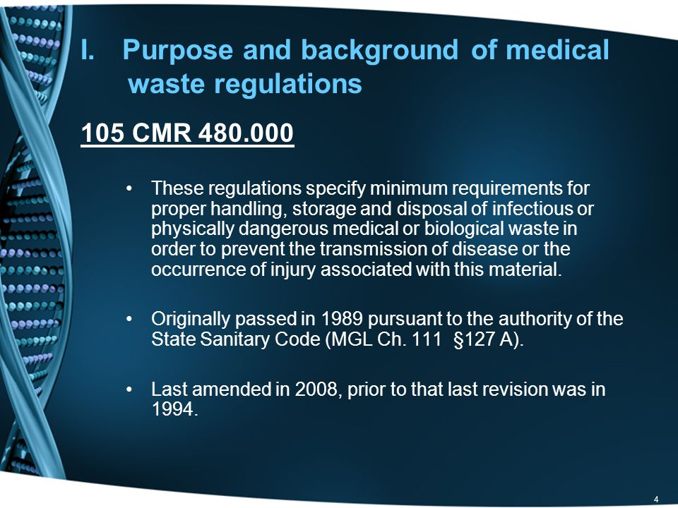 Purpose and background of medical waste regulations