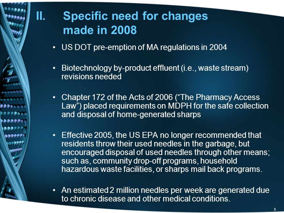 Specific need for changes made in 2008