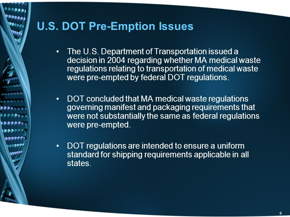 U.S. DOT Pre-Emption Issues