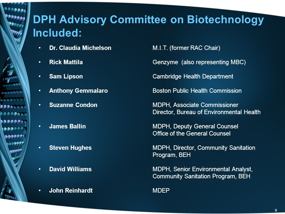 DPH Advisory Committee on Biotechnology Included: