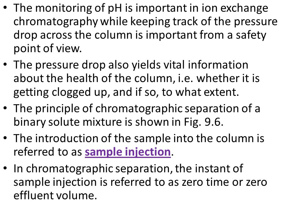 The monitoring of pH is important in ion exchange chromatography while keeping track of the pressure drop across the column is important from a safety point of view.