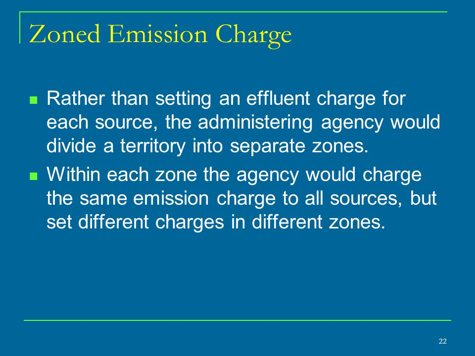 Zoned Emission Charge Rather than setting an effluent charge for each source, the administering agency would divide a territory into separate zones.