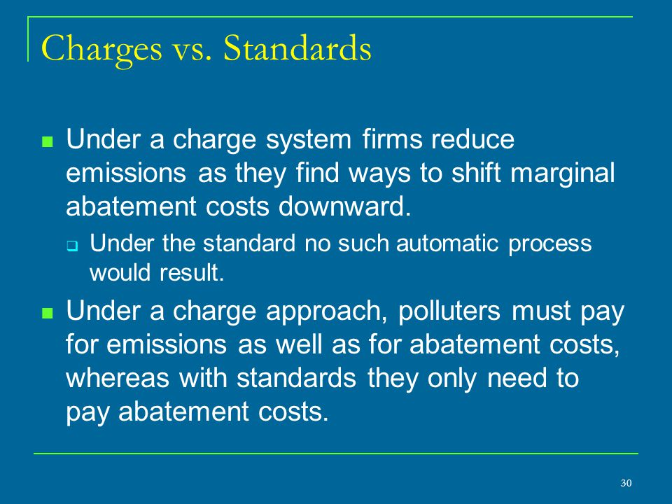 Charges vs. Standards Under a charge system firms reduce emissions as they find ways to shift marginal abatement costs downward.