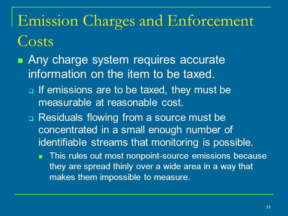 Emission Charges and Enforcement Costs