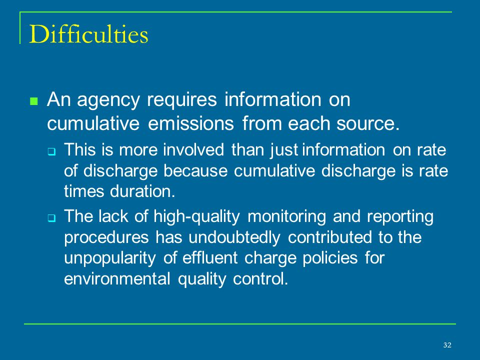 Difficulties An agency requires information on cumulative emissions from each source.