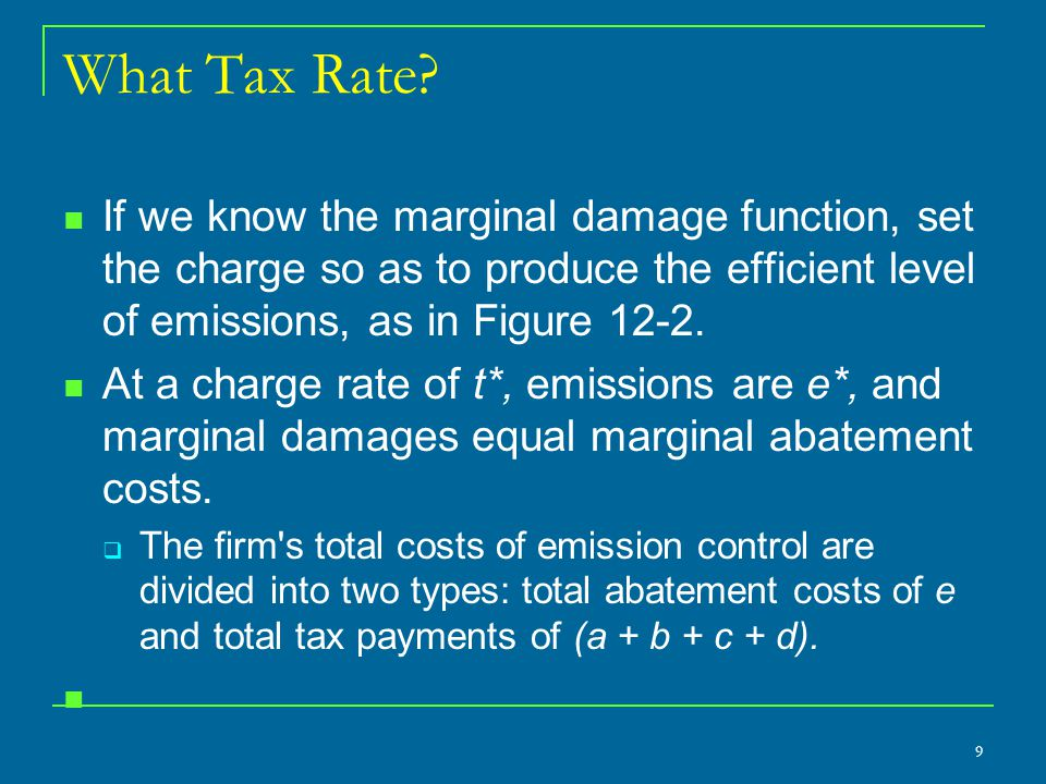 What Tax Rate If we know the marginal damage function, set the charge so as to produce the efficient level of emissions, as in Figure 12-2.