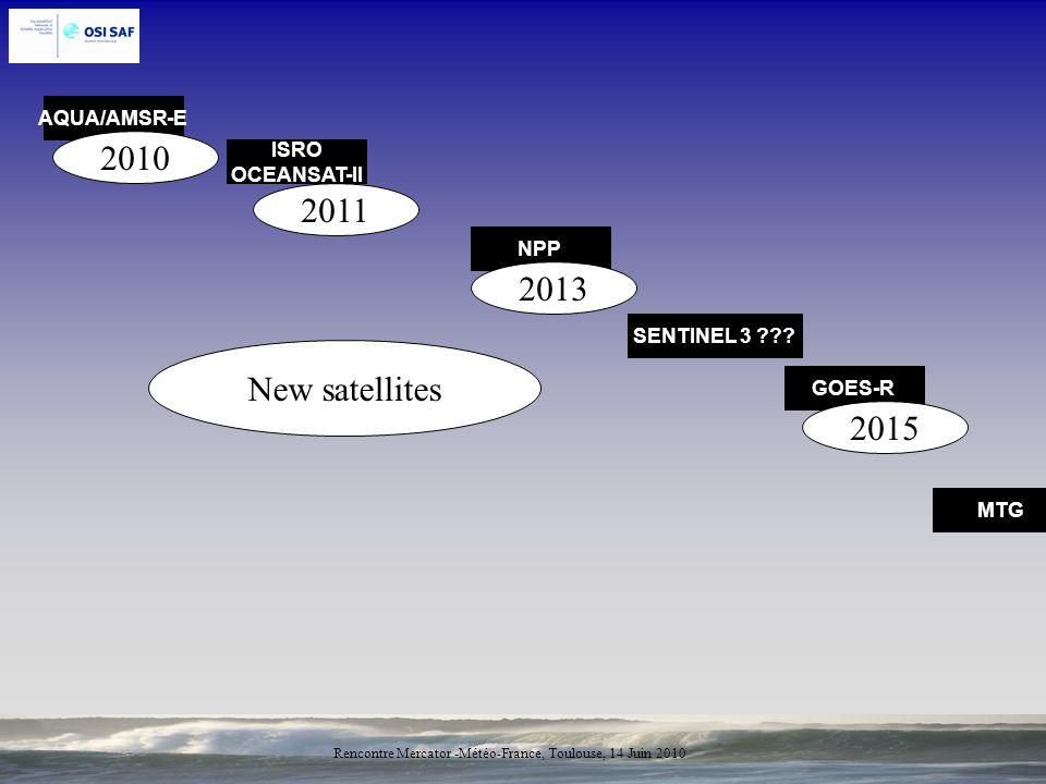 2010 2011 2013 New satellites 2015 AQUA/AMSR-E ISRO OCEANSAT-II NPP