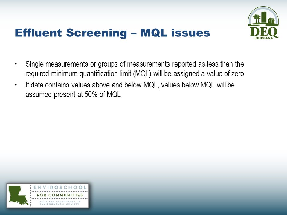 Effluent Screening – MQL issues