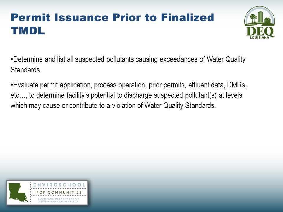 Permit Issuance Prior to Finalized TMDL