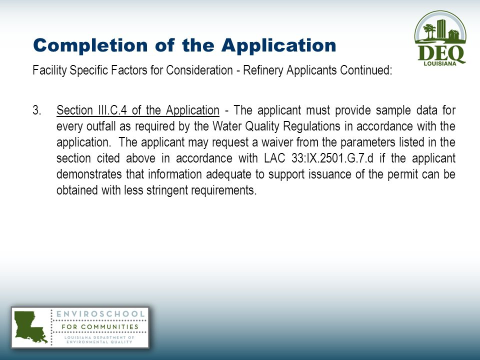 Completion of the Application
