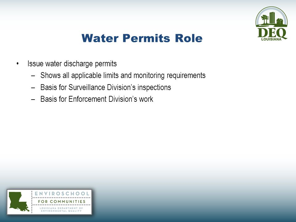 Water Permits Role Issue water discharge permits